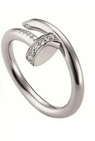 60125 - Кольцо гвоздь из серебра с фианитами