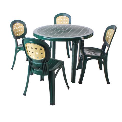 Пластиковый стол круглый темно-зеленый