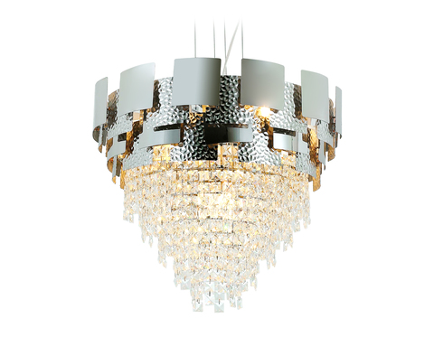 Подвесная хрустальная люстра TR5242/9 SL/CL серебро/прозрачный E14/9 max 40W D600*840