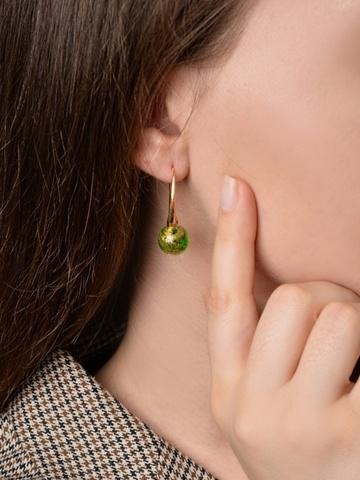 Серьги Ornella Emerald Gold 030O золотисто-зелёные
