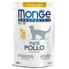 Пауч для стерилизованных кошек MONGE CAT Monoprotein Pouch с курицей
