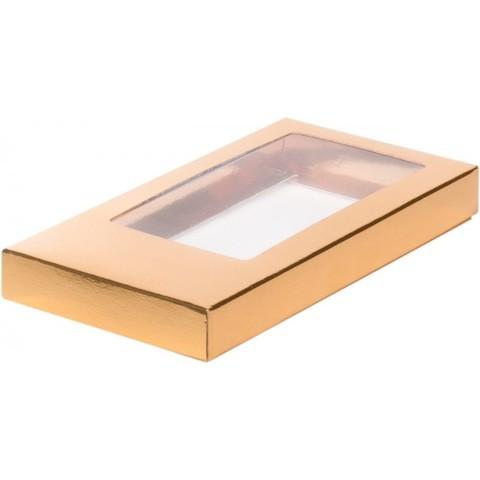 Коробка для шоколадной плитки,18*9*1,7см, золото