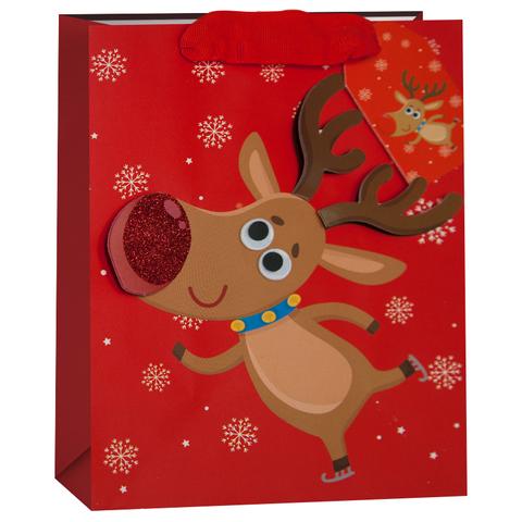 Пакет подарочный, Олень и снежинки, Красный, с блестками, 42*32*12 см