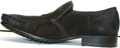 Мужские кожаные мокасины с мехом внутри Welfare 555841 Dark Brown Nubuk & Fur.