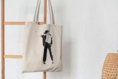 Сумка-шоппер с принтом Майкл Джексон (Michael Jackson) бежевая 0011