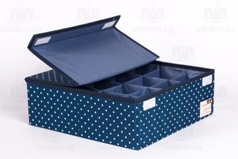 Складной органайзер, 16 ячеек, 32*32*12 см (темно-синий в горошек)
