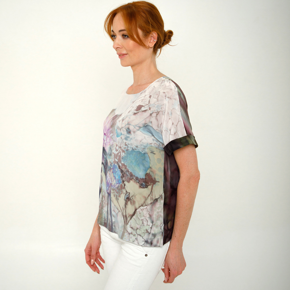 Блузка из натурального шелка батик