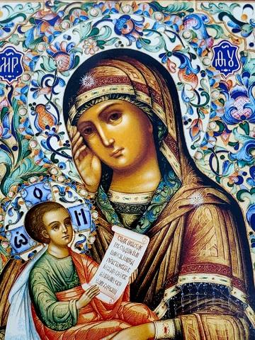 Икона Божией Матери Утоли моя печали на дереве на левкасе