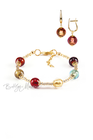 Комплект Carnavale Oro (розовые серьги на серебре, браслет)