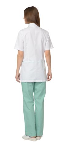 Костюм  женский: блуза, брюки, (белый с мятным)