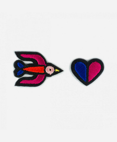 Патч-заплатка Blue Swallow + Two - tone heart (blue + red)