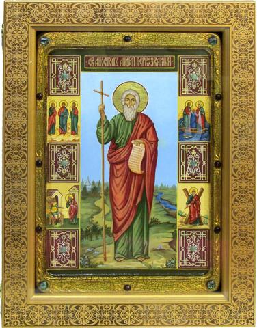 Большая живописная икона Святой апостол Андрей Первозванный 42х29см на кипарисе в березовом киоте