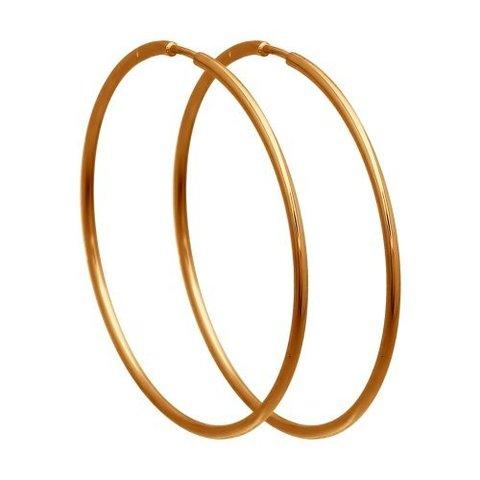 140001-Серьги-конго из золота 585 пробы Ø10 мм гладкие