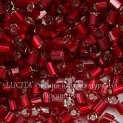 97090 Бисер Preciosa рубка 9/0, темно-красный с серебряным центром