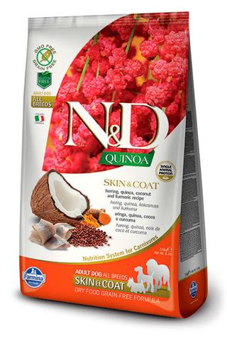 7 кг. FARMINA N&D Quinoa Сухой корм для взрослых собак с cельдью, киноа, кокосом и куркумой Adult Dog Skin&Coat Herring