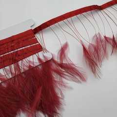Тесьма  из перьев петуха на ножке h-10-15 см ,бордо