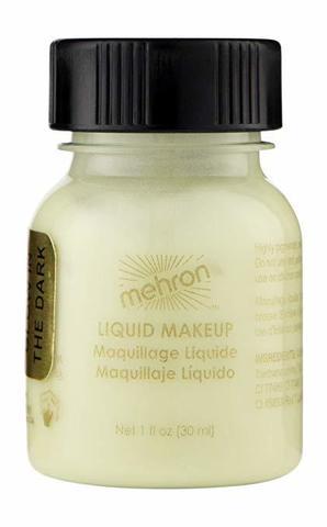 MEHRON Флуоресцентный жидкий грим Liquid Makeup, Glow-in-the-Dark (Светящийся в темноте), 30 мл