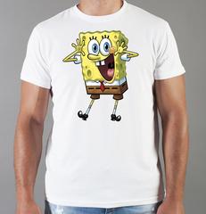 Футболка с принтом мультфильма Губка Боб Квадратные Штаны/ Спанч Боб (SpongeBob SquarePants) белая 001