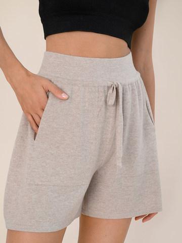 Женские шорты бежевого цвета из шерсти и кашемира - фото 3