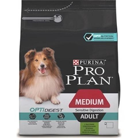 Pro Plan Optidigest сухой корм для собак средних пород с чувствительным пищеварением с ягненком