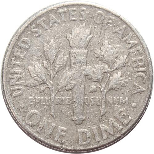 1 дайм (10 центов) 1964. (D) США Серебро VG