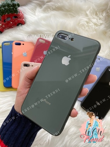 Чехол iPhone 7/8 Plus Glass Pastel color Logo /forest green/