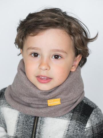 Детский снуд-горловинка из кашемира серо-бежевый