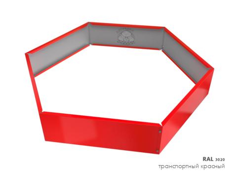 Клумба многоугольная оцинкованная 1 ярус RAL 3020 Транспортный красный