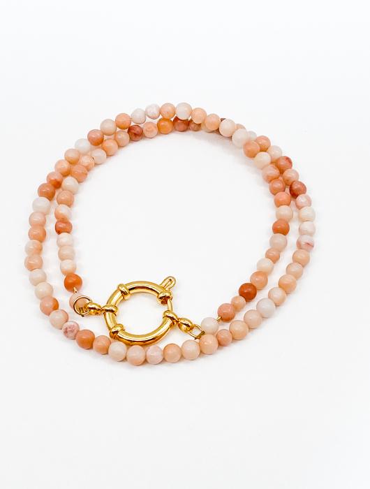 Чокер из камня 4 мм / peach aventurine /