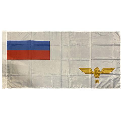 Флаг МПС (белое поле, флаг РФ, эмблема МПС) (70х105 см)