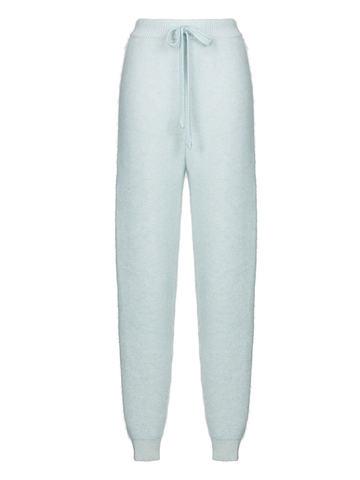 Женские брюки голубого цвета из мохера и кашемира - фото 1
