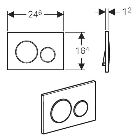 Смывная клавиша GEBERIT Sigma 20 115.882.KJ.1  белый/хром/белый схема