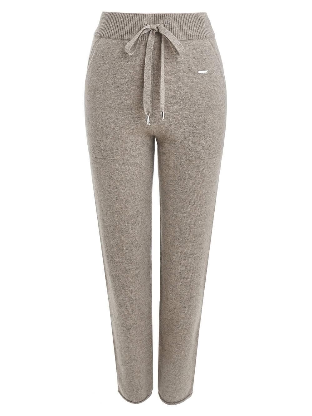Женские брюки песочного цвета с карманами из 100% кашемира - фото 1