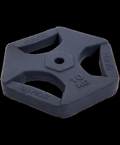 Диск обрезиненный с хватами BB-205 10 кг, d=26 мм, без стальной втулки, темно-серый