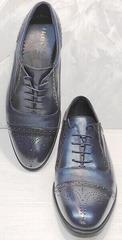 Классические броги. Кожаные оксфорды туфли синего цвета Ikoc 3805-4 Ash Blue Leather.