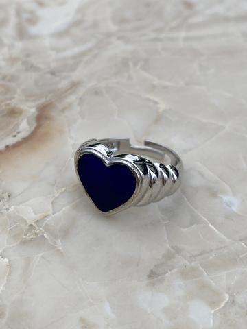 Кольцо Лавли из серебра с синей эмалью