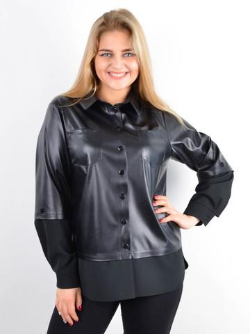 Абігаль. Сорочка з екошкіри великого розміру. Чорний.