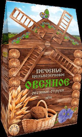 Печенье Овсяное с овсяными отрубями и льном, постное   300 гр. (Дивинка)