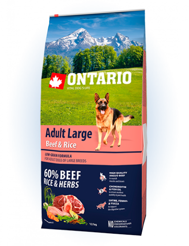 Ontario Adult Large Beef & Rise 12 кг