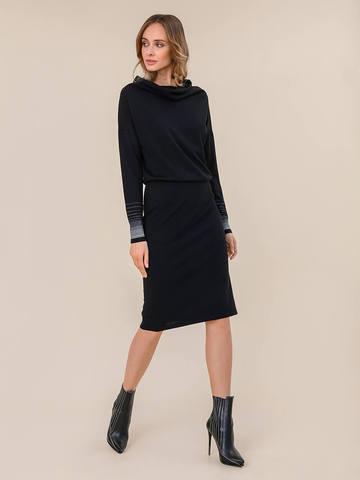 Женское платье черного цвета из шерсти и вискозы - фото 2