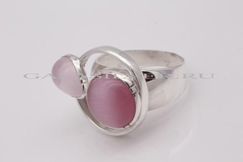 Кольцо с розовым кварцем и улекситом из серебра 925