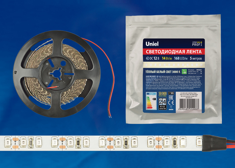 ULS-M14-2835-168LED/m-10mm-IP20-DC12V-14W/m-5M-3000K PROFI Гибкая светодиодная лента на самоклеящейся основе. Катушка 5м. в герметичной упаковке. Теплый белый свет(3000К). ТМ Uniel.