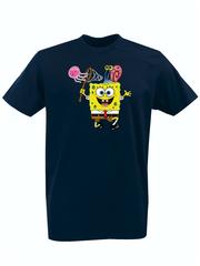 Футболка с принтом мультфильма Губка Боб Квадратные Штаны/ Спанч Боб (SpongeBob SquarePants) темно-синяя 0011