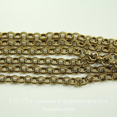 Винтажная цепь (звено 5 мм) (цвет - античное золото), 10 см ()