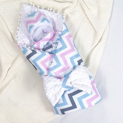 СуперМамкет. Конверт-одеяло с бантом и шапочкой Зигзаг, голубой/розовый/белый вид 1