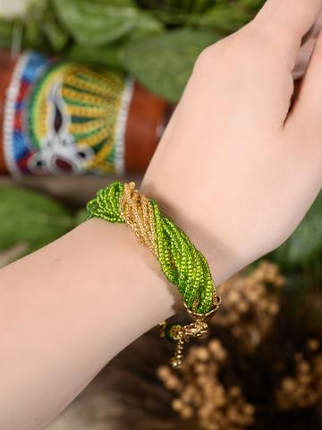 Бисерный браслет 24 нити зелено-золотистый