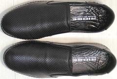 Перфорированные слипоны мокасины мужские из натуральной кожи стиль смарт кэжуал Ridge Z-291-80 All Black.