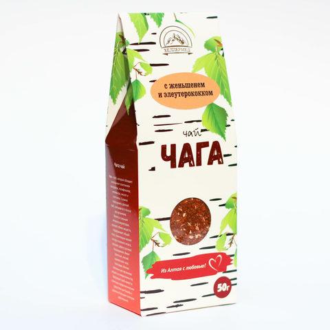 Чага-чай Березовый с женьшенем и элеутерококком, 50г (Хелпер Мед)