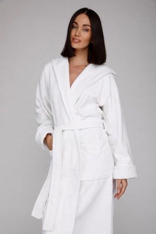 Женский махровый халат с капюшоном 901