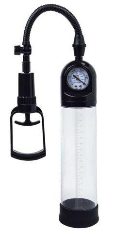 Чёрная вакуумная помпа A-toys с манометром и прозрачной колбой